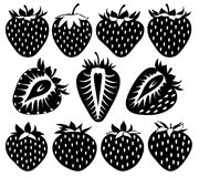 Vector strawberries of different shapes in black Stock Photography