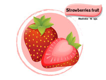 Vector Strawberries fruit isolated on color background,illustrator 10 eps Stock Image