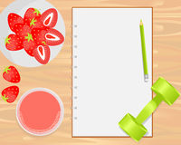 Vector strawberries, strawberry juice, weight and notebook on wood background. Flat lays style vector illustration