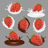 Vector strawberry dessert icon set Stock Images