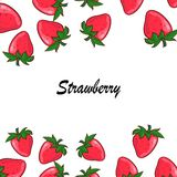 Vector strawberry frame . Red berry and white flower Stock Image