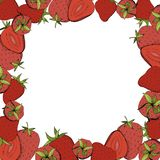Vector Strawberry fresh fruit healthy food. Red and green engraved ink art. Frame border ornament square. Vector Strawberry fresh fruit healthy food. Red and stock illustration