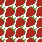 Vector Strawberry fresh fruit healthy food. Red and green engraved ink art. Seamless background pattern. Fabric wallpaper print texture royalty free illustration