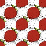 Vector Strawberry fresh fruit healthy food. Red and green engraved ink art. Seamless background pattern. Fabric wallpaper print texture vector illustration