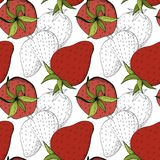 Vector Strawberry fresh fruit healthy food. Red and green engraved ink art. Seamless background pattern. Fabric wallpaper print texture stock illustration