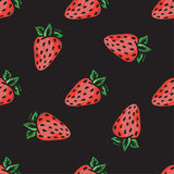 Vector strawberry seamless pattern. Modern texture. Repeating endless abstract hand drawn background.  Stock Image