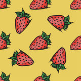 Vector strawberry seamless pattern. Modern texture. Repeating endless abstract hand drawn background.  Royalty Free Stock Photos