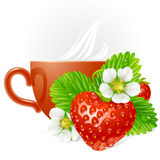 Vector strawberry in the shape of heart and cup. Vector strawberry in the shape of heart, white flowers and cup of tea Royalty Free Stock Photos