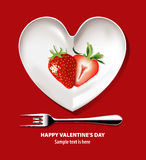 Vector of Strawberry on white heart plate. Valentine's day. EPS.10 Royalty Free Stock Photo