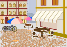 Vector of street cafes in the city Stock Images