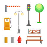 Vector street element icons set. Bench, hydrant and trafficlights, streetlights with fence Stock Image