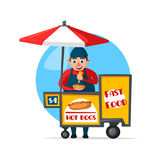 Vector street fast food vendor booth cart Royalty Free Stock Photo