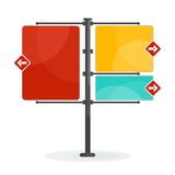 Vector street sign. Blank signs pointing in opposite directions. Traffic sign . Flat cartoon road sign illustration. Objects isolated on white background Vector Illustration