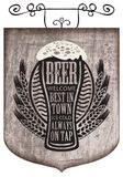 Signboard with beer glass with words on beer theme. Vector street signboard or a banner for a beer with a wreath of wheat and overflowing beer glass with the Royalty Free Stock Images