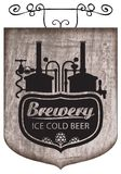 Beer signboard with production line retro brewery Stock Image
