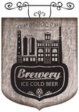 Beer signboard with retro brewery building Royalty Free Stock Images