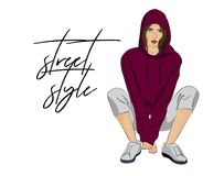 Vector street style poster. Sporty woman figure outfit, fashion illustration. Girl in crop top hoodie and sneakers. Hand. Drawn jogging girl look in fashion vector illustration