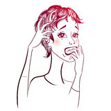 Vector stressed woman royalty free illustration