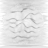 Vector striped background. Abstract line waves. Sound wave oscillation. Funky curled lines. Elegant wavy texture. Surface distortion. Monochrome. Grayscale stock illustration