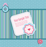 Vector striped background, with a button, card Stock Photo