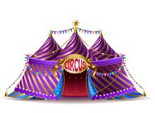 Vector striped circus tent for performances. Vector 3d realistic striped circus tent with flags and illuminated signboard for performances, isolated on royalty free illustration
