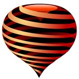 Vector striped heart Stock Images