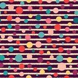 Vector stripes and dots seamless pattern on dark background royalty free illustration