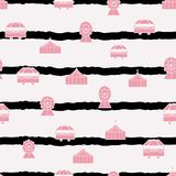 Vector stripes pastel pink carnival elements seamless repeat pattern. royalty free illustration