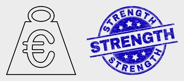 Vector Outline Euro Mass Icon and Distress Strength Stamp. Vector stroke euro mass icon and Strength seal. Blue rounded grunge seal with Strength phrase. Black royalty free illustration