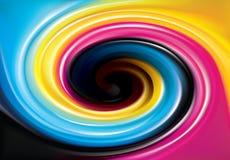 Vector Strudelhintergrund des Primärfarbdruckverfahrens (CMYK Lizenzfreies Stockfoto