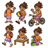 Student girl set in various pose and activity stock illustration
