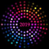 Vector style design of a single radial burst of New Year 2019 designed with stars in flat rainbow colors Stock Illustration
