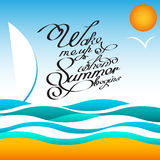 Vector style summer design poster with sun and birds. Handwritten quotes calligraphy. Vector illustration EPS10 - stock Stock Photo