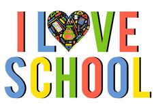 Vector stylezed heart with school stationery items Royalty Free Stock Photography