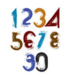 Vector stylish brush digits, handwritten numerals, sans serif nu Royalty Free Stock Photography