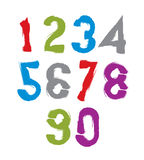 Vector stylish brush digits, handwritten numerals, sans serif nu Stock Photography
