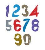 Vector stylish brush digits, handwritten numerals, sans serif nu Royalty Free Stock Image