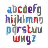 Vector stylish brush lowercase letters, handwritten font, sans s Royalty Free Stock Image