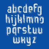 Vector stylish brush lowercase letters, handwritten font, white Stock Image
