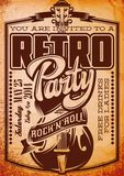 Vector Stylish Color Retro Party Template with Guitar.  vector illustration