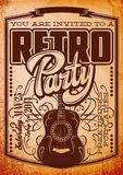 Vector Stylish Color Retro Party Template with Guitar.  royalty free illustration