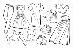 Vector stylish fashion set of woman's clothes Stock Photography