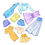 Vector stylish fashion set of woman's clothes Stock Images