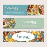 Vector stylish floral banners. Bright doodle cartoon cards in . Abstract header  background Royalty Free Stock Image