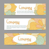 Vector stylish floral banners. Bright doodle cartoon cards in vector. Abstract header vector background Royalty Free Stock Photo