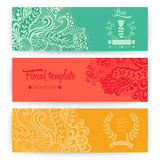 Vector stylish floral banners. Bright doodle cartoon cards in ve Stock Photo