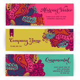 Vector stylish floral banners. Bright doodle cartoon cards in ve Royalty Free Stock Photography