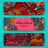 Vector stylish floral banners. Bright doodle cartoon cards in ve Stock Images
