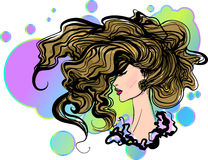 Vector stylish hand-drawn graphic girl portrait Stock Photography