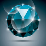 Vector stylish illustration, shiny sapphire effect, eps10. Gala. 3D blue twinkle ball Royalty Free Stock Photos